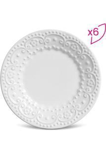 Jogo De Pratos Para Sobremesa Esparta- Branco- 6Pã§S