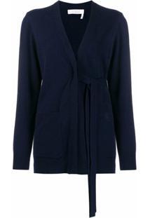 Chloé Cardigan Com Amarração Na Cintura - Azul