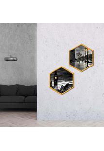 Kit 2 Quadros Com Moldura Hexagonal Noite Em Londres