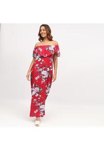 Vestido Ciganinha Longo Com Fenda- Vermelho & BrancoãGua Viva
