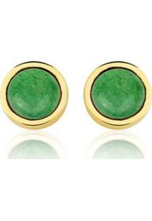 Brinco Toque De Joia Círculo Único Quartzo Verde - Feminino-Dourado