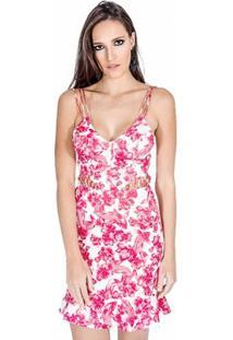 Vestido Neoprene Floral Colcci - Feminino-Rosa