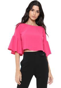 Blusa Cropped My Favorite Thing(S) Babados Pink
