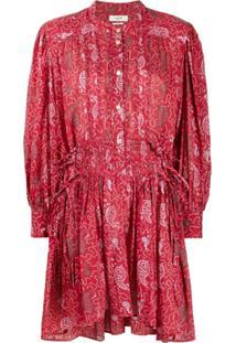 Isabel Marant Étoile Vestido Anaco Com Mangas Amplas - Vermelho