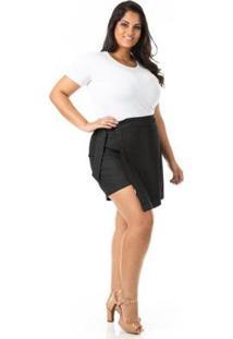 Shorts Saia Transpassado Plus Size Confidencial Extra Feminino - Feminino-Preto