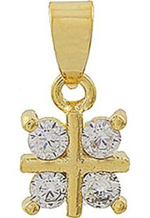 Pingente Narcizza Semijoias Flor Quadradinho Cristal Ouro