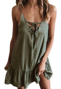 Vestido De Verão Decote De Amarrações