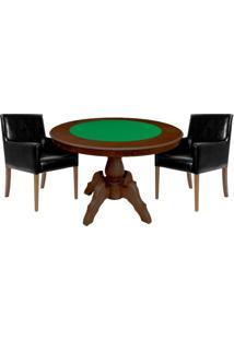 Mesa De Jogos Carteado Redonda Montreal Tampo Reversível Imbuia Com 2 Cadeiras Liverpool Corino Preto Liso - Gran Belo