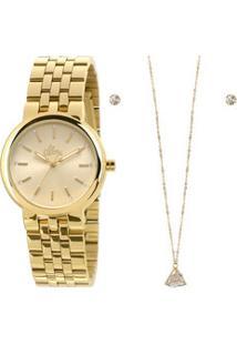 Kit Relógio Feminino Strass Allora Al2035Lvk4D