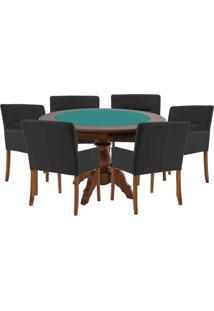 Mesa De Jogos Carteado Redonda Montreal Tampo Reversível Imbuia Com 6 Cadeiras Vicenza Preto Fosco - Gran Belo