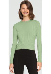 Blusa Malha Canelado Verde