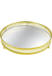 Bandeja Em Metal Com Espelho Redonda 24Cm Dourada