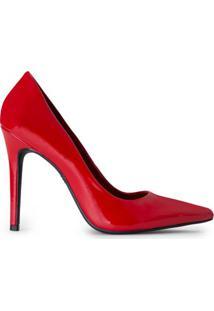 Amaro Feminino Scarpin Salto Fino Alto Básico, Vermelho Escuro