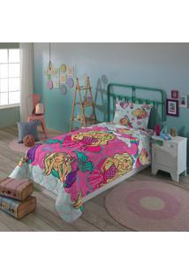 Edredom Infantil Dupla Face Solteiro Lepper Barbie Reinos Mágicos Rosa