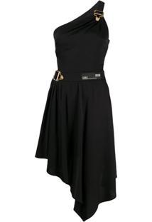 Versace Jeans Couture Vestido Assimétrico Ombro Único - Preto