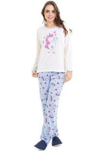 Pijama De Inverno Adulto Unicórnio Luna Cuore 810 Feminino - Feminino-Marfim