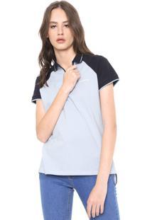 Camisa Polo Calvin Klein Jeans Reta Zíper Azul