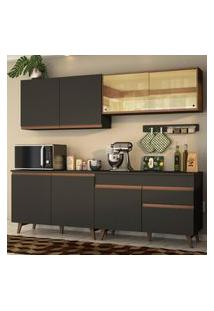 Cozinha Completa Madesa Reims 240001 Com Armário E Balcáo - Preto/Rustic Preto
