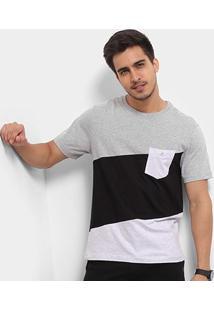 Camiseta Cavalera Diagonal Bolso Masculina - Masculino-Mescla