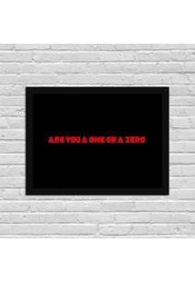 Quadro Decorativo Séries De Tv Mr. Robot Are You One Or Zero Preto - Médio