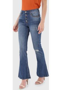 Calça Jeans Dzarm Flare Pespontos Azul