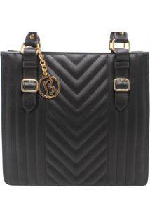 Bolsa Birô Shop Bag Fivela Feminina - Feminino-Preto