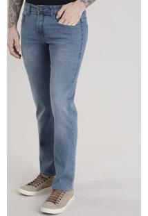 Calça Jeans Reta Com Algodão + Sustentável Azul Claro