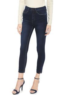 Calça Jeans Calvin Klein Skinny Cropped Estonada Azul-Marinho