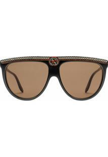 Gucci Eyewear Óculos De Sol Oversized Com Cristais - Preto