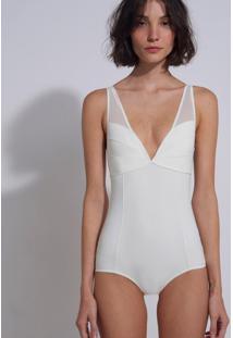 Body Le Lis Blanc Recortes Ana 3 Underwear Off White Feminino (Off White, G)