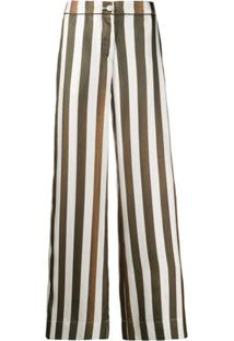 F.R.S For Restless Sleepers Striped Flared Trousers - Branco