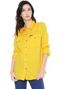 Camisa Sarja Calvin Klein Jeans Bolsos Amarela