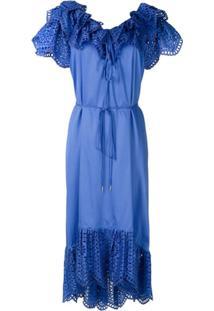 Reinaldo Lourenço Vestido Midi Com Laise - Azul