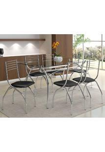 Mesa 379 Com Vidro Incolor Cromada Com 6 Cadeiras 146 Preta Carraro