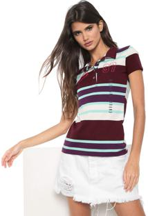 Camisa Polo Planet Girls Listrada Vinho/Verde