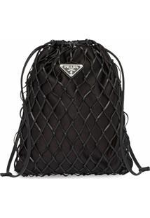 Prada Bolsa Saco Com Rede - Preto