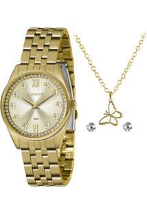 Relógio Lince Feminino Quartz Analógico Dourado Semijoia - Lrgj136L-Kz39C3Kx
