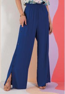 Calça Pantalona Azul Com Botões Na Lateral