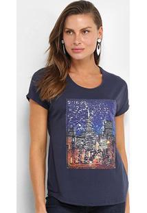 Camiseta Facinelli Paris Paetês Feminina - Feminino-Azul