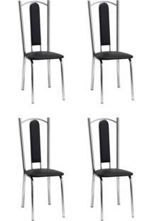 Conjunto Com 4 Cadeiras Vera Preto E Cromado