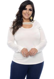 Blusa Marie Plus Size Soft Cool Off White