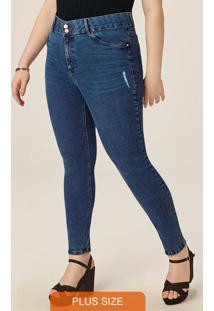Calça Azul Skinny Jeans Com Puídos