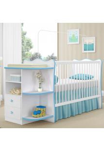 Berço Com Cômoda Doce Sonho P/ Jogo De Quarto Infantil Bebê - Branco/Azul (Cod 101)