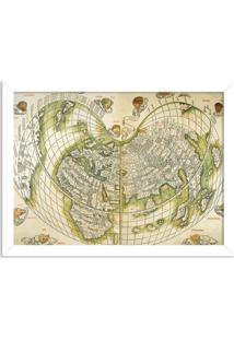 Quadro Decorativo Antigo Mapa Mundi Branco - Médio