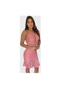 Vestido Boutelle De Renda Curto Bojo Rosa