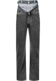 Y/Project Calça Jeans Reta Com Sobreposição - Cinza