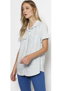 5dd8d85d67 ... Camisa S/S Multi Pocket Listrada - Azul Claro & Branca7 For All Mankind