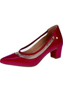 Sapato Scarpin Domidona Cristal Transparente Vermelho