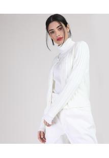 Cardigan De Tricô Feminino Canelado Com Pérolas Decote Redondo Off White