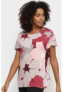Blusa Hering Floral Feminina - Feminino-Vermelho Escuro